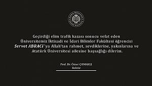 Prof.Dr.Ömer ÇOMAKLI Taziye Mesajı Yayınladı
