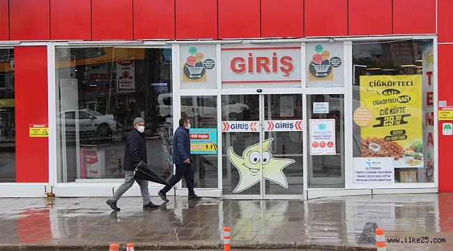 Marketlerin kapanmasına dakikalar kala Erzurum'da hareketlilik yaşandı