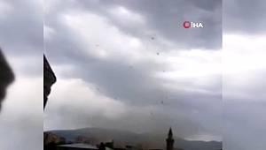 Erzurum'da korkutan hortum böyle görüntülendi