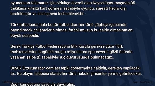 BB Erzurumspor Jaw Achka'yı süresiz kadro dışı bıraktı