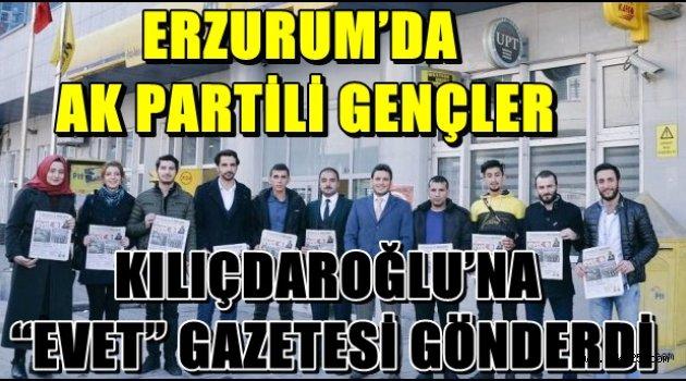 """ERZURUM'DA AK PARTİLİ GENÇLER, KILIÇDAROĞLU'NA """"EVET"""" GAZETESİ GÖNDERDİ"""