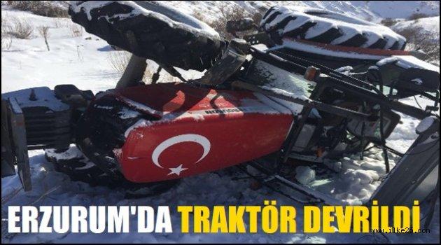 Erzurum'da traktör devrildi: 3 yaralı