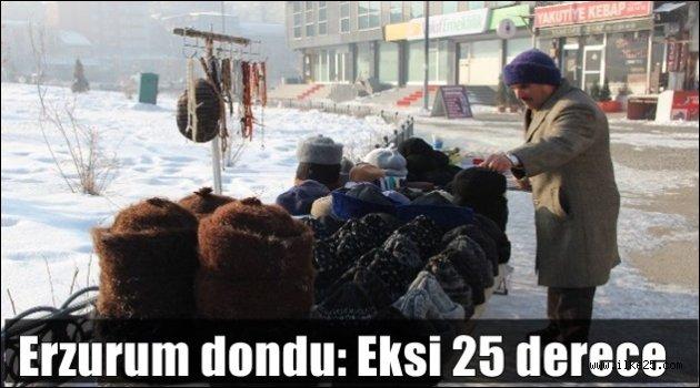 Erzurum dondu: Eksi 25 derece