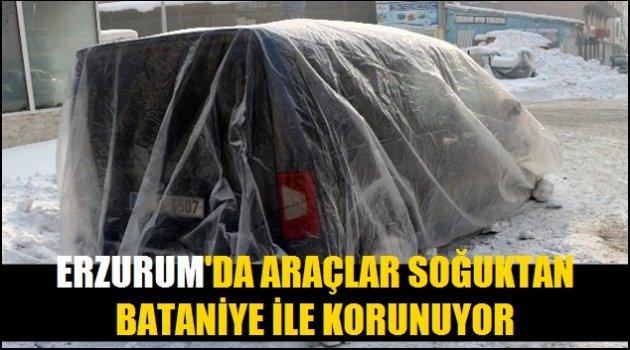 Erzurum'da araçlar soğuktan battaniye ile korunuyor