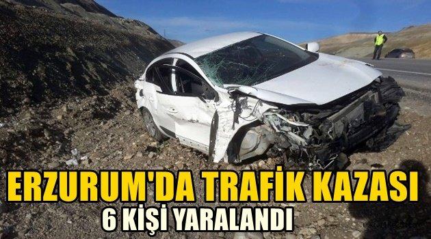 Erzurum'da Otomobiller Kafa Kafaya Çarpıştı