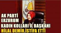 Ak Parti Erzurum Kadın Kolları Başkanı Hilal Demir istifa etti