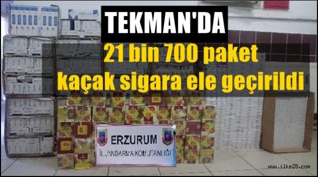 Tekman'da 21 bin 700 paket kaçak sigara ele geçirildi